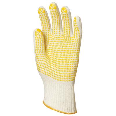 Gants en coton tricoté avec picots jaunes 1 face - Eurotechnique