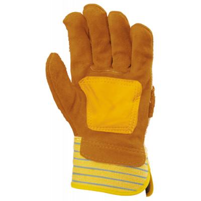 Gants de docker croûte vachette jaune, paume renfort fleur - Eurotechnique