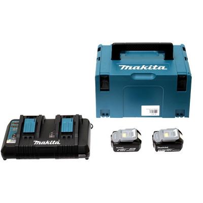 Makita 197504-2 Pack Énergie 18 V Li-Ion (2 batteries + 1 chargeur double) avec coffret MAKPAC