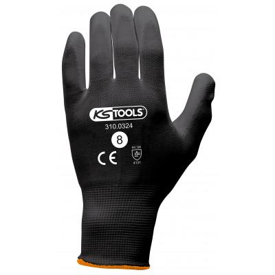 Gants microfibres noirs, T.8, 12 paires KS Tools | 310.0324