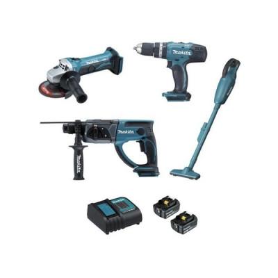 Ensemble de 4 machines 18 V li-Ion 3 Ah (DHP453 + DGA452 + DHR202 + DCL180) Makita  | DLX4126S