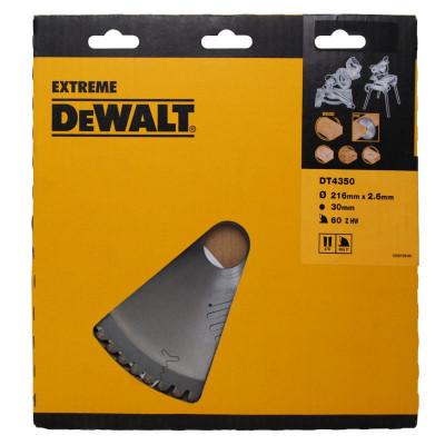 Lame pour scie à onglet stationnaire extreme diamètre 216X30mm/60 dents - Dewalt | DT4370